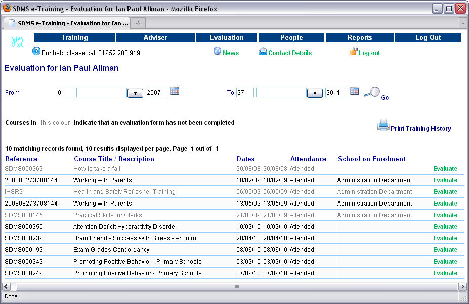 Sdms Ltd  Sdms V EEvaluation For Sdms V ETraining For Web Access